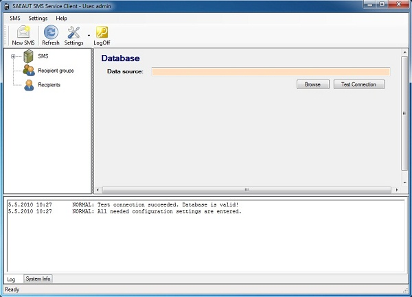 Click to view SAEAUT SMS Service Client 2.2.0 screenshot
